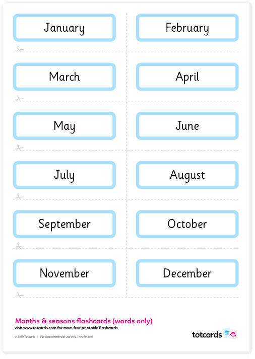 It's just a graphic of Printable Months of the Year inside flashcard