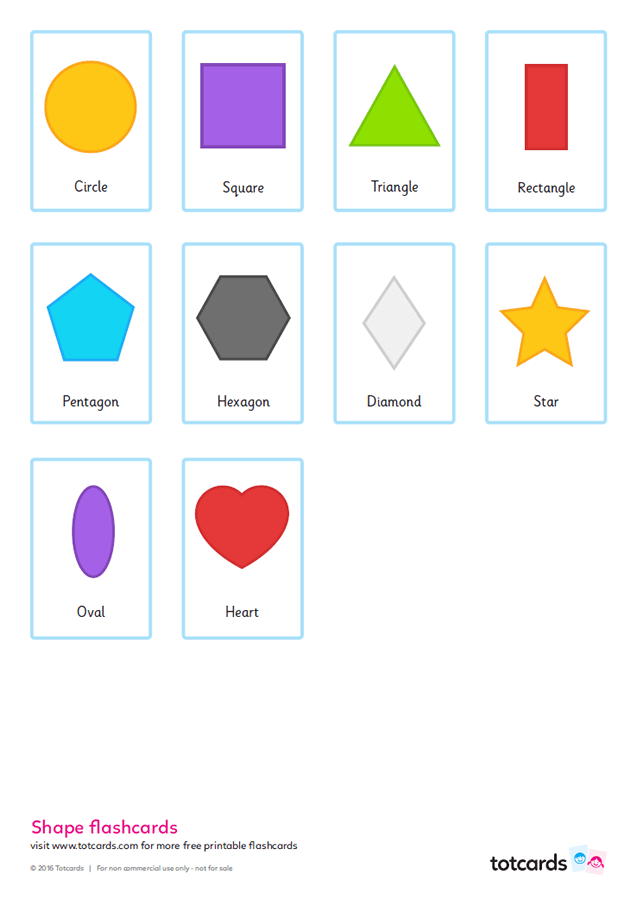 photo relating to Printable Shapes named Free of charge form flashcards for youngsters - Totcards