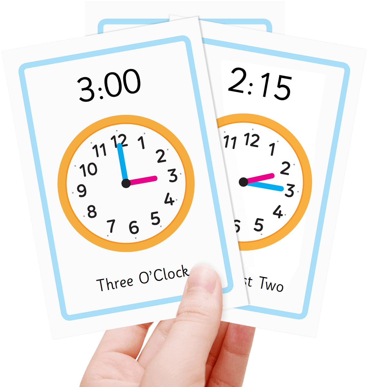 Free teach the time flash cards