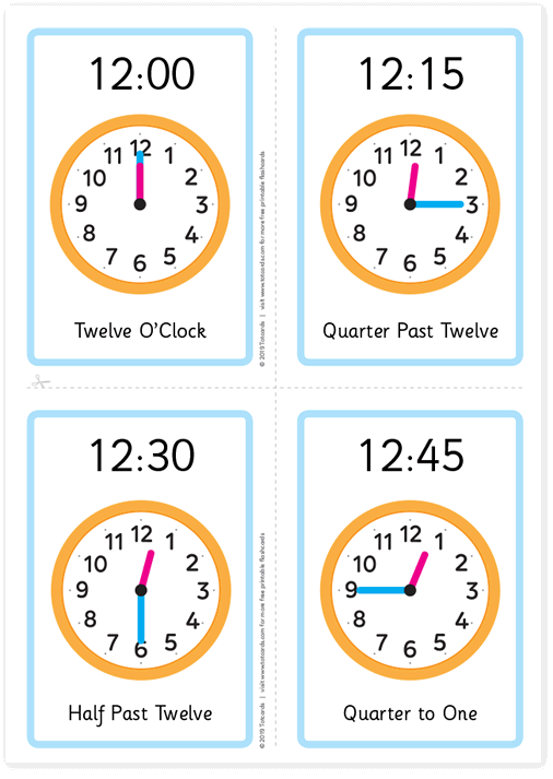 Free tell the time flashcards