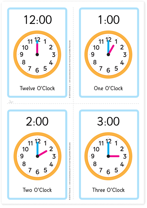 Free teach the time flashcards